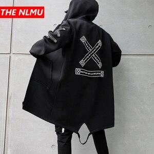 Image 1 - Lungo Degli Uomini del Rivestimento Stampe Di Moda 2019 primavera Harajuku Giacca A Vento Cappotto Maschile Casual Outwear Hip Hop Streetwear Cappotti WG198