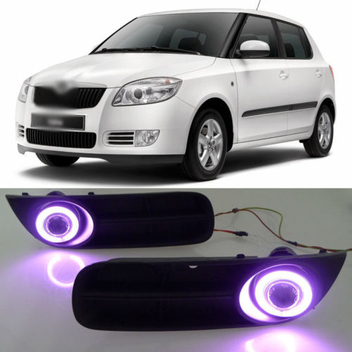 Ownsun Innovative Super COB Fog Light Angel Eye Bumper Cover for Skoda Fabia Scout ownsun new innovative cob fog light angel eye bumper projector lens for vw bora 2013