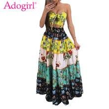 14e6ecc5548 Adogirl imprimé Floral longue robe d été femmes Sexy sans bretelles haut  court Maxi bohème robes deux pièces ensemble dames plag.