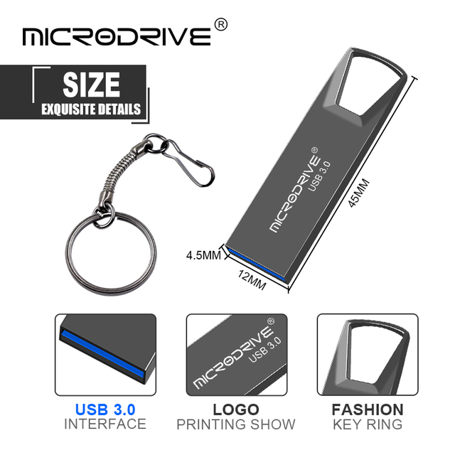 High Speed USB 3.0 Metal Flash Drive 16GB 32GB 64GB 128GB Pendrive Rotatable usb flash drive Pen memory Sticks with key chain 2