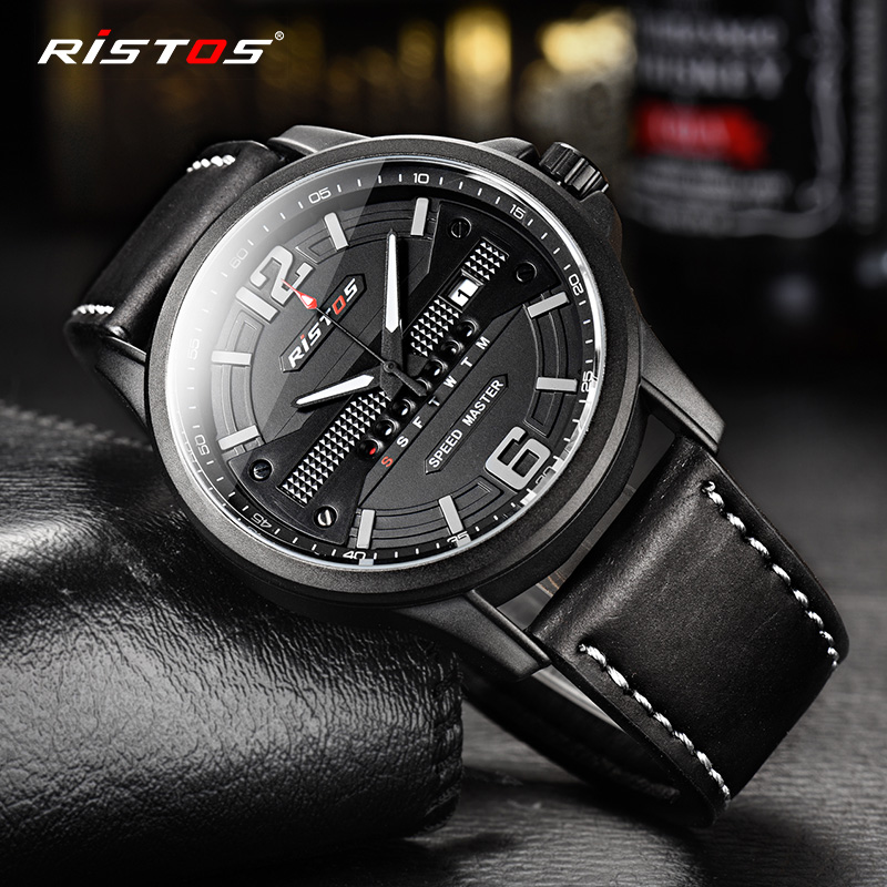 20a0c8feb265 RISTOS Quartz Men Watch Sport Genuine Leather Watches Reloj Masculino  Hombre Male Wristwatch Fashion Analog Calendar Watch 9322-in Quartz Watches  from ...