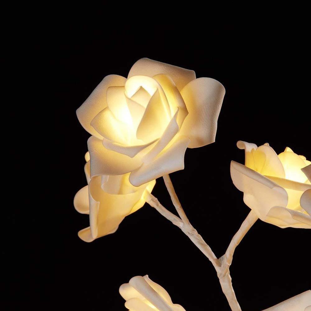 24 led rosa rosa flor lâmpada de