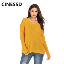 CINESSD V Neck Women Pullover Sweater Blue Long Sleeve Casual Tops Tee Shirt Loose Office Lady Tunic TShirt Thin Knitted Sweater