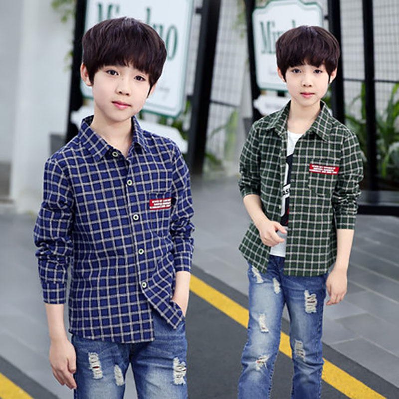 Boys clothes 4-15 Y children cotton plaid shirt kids spring autumn style long sleeve Tee tops Outwear Outfits Children Clothing spring outfits for kids