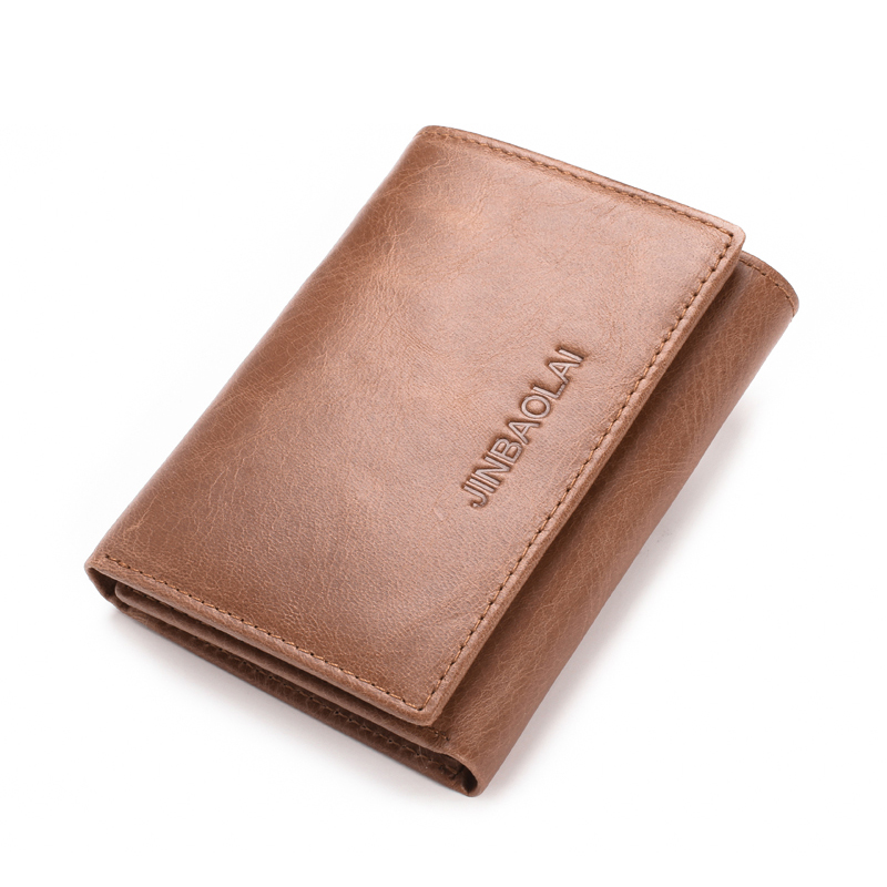 e8c55883dbe0 Genuine Leather Men RFID Blocking Slim Wallets Hasp Trifold Wallet For Men  With Flip Out ID Holder Credit Card Purses carteira