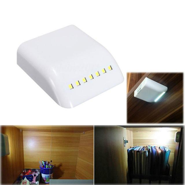 Battery LED Night Lamp PIR Infrared Motion Sensor Light Kitchen Inner Hinge Drawer Cupboard Wardrobe Closet Under Cabinet Light