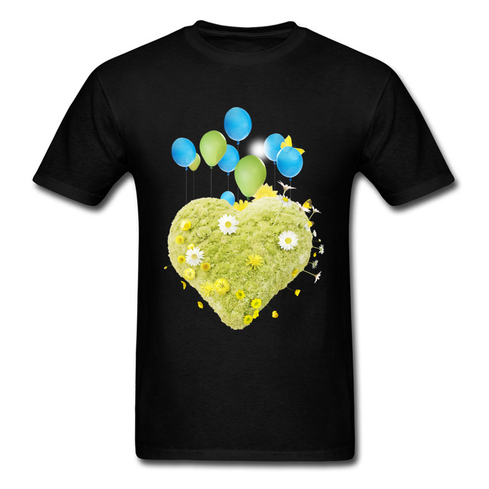 Men New Arrival Tops T Shirt Round Collar Father Day 100% Cotton Fabric T Shirt Printed Green Heart With Balloons T Shirt 95s