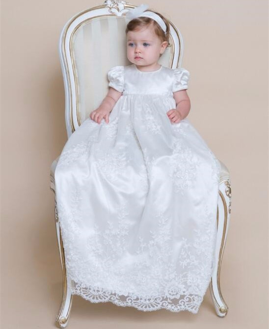 New Infant Baby Girls Christening Gown Lace Applique Beaded Sequins Baptism Gown Any Size with Bonnet недорго, оригинальная цена