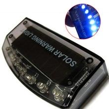 1Pc 6LED Auto Solar Charger Car Burglar Alarm Lamp Sensor Security Warning Light