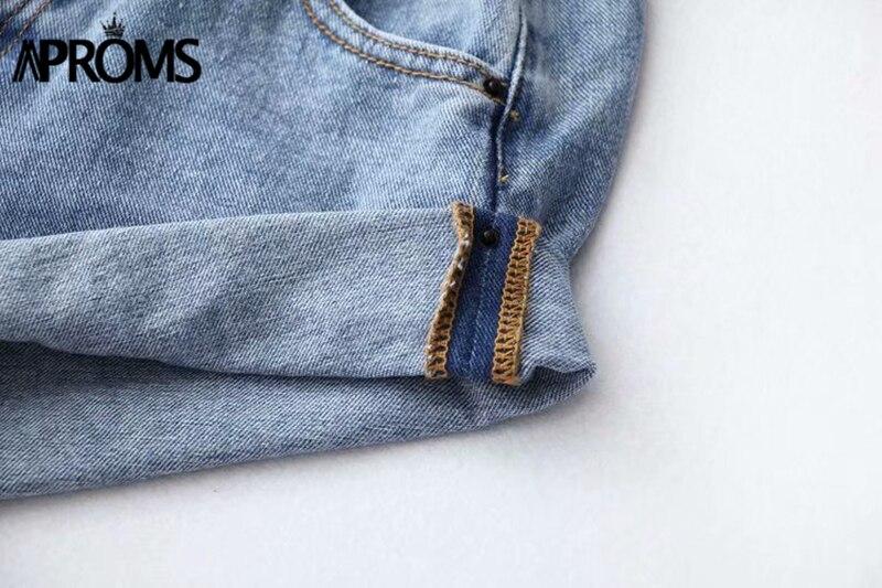 Aproms Casual Blue Denim Shorts Women Sexy High Waist Buttons Pockets Slim Fit Shorts 2019 Summer Beach Streetwear Jeans Shorts 55