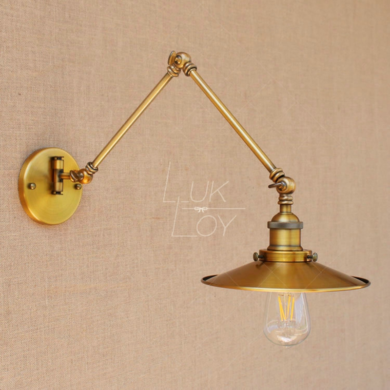 LukLoy Wall Light Industrial Vintage Adjustable Wall Lamp, E27 Retro Metal Rustic Lighting Fixtures for Home Office Decoration lukloy wall light e27 retro industrial vintage adjustable wall lamp metal vintage lighting fixtures for home office decoration