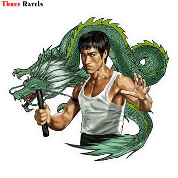 Three Ratels LCS455# 14x12.6cm Bruce Lee car stickers funny car stickers styling removable decal image