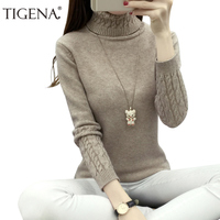 2016 Spring Autumn Winter High Elastic Turtleneck Women Sweater Knit Sweater Long Sleeve Warm Pullover Female