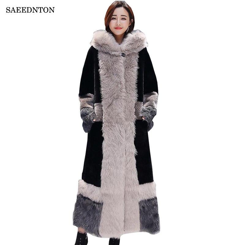 X-long Vison Manteaux Femmes 2019 Hiver nouvelle mode Noir Faux Manteau De Fourrure Élégant Survêtement Épais Chaud Faux Fourrure Veste chaquetas Mujer