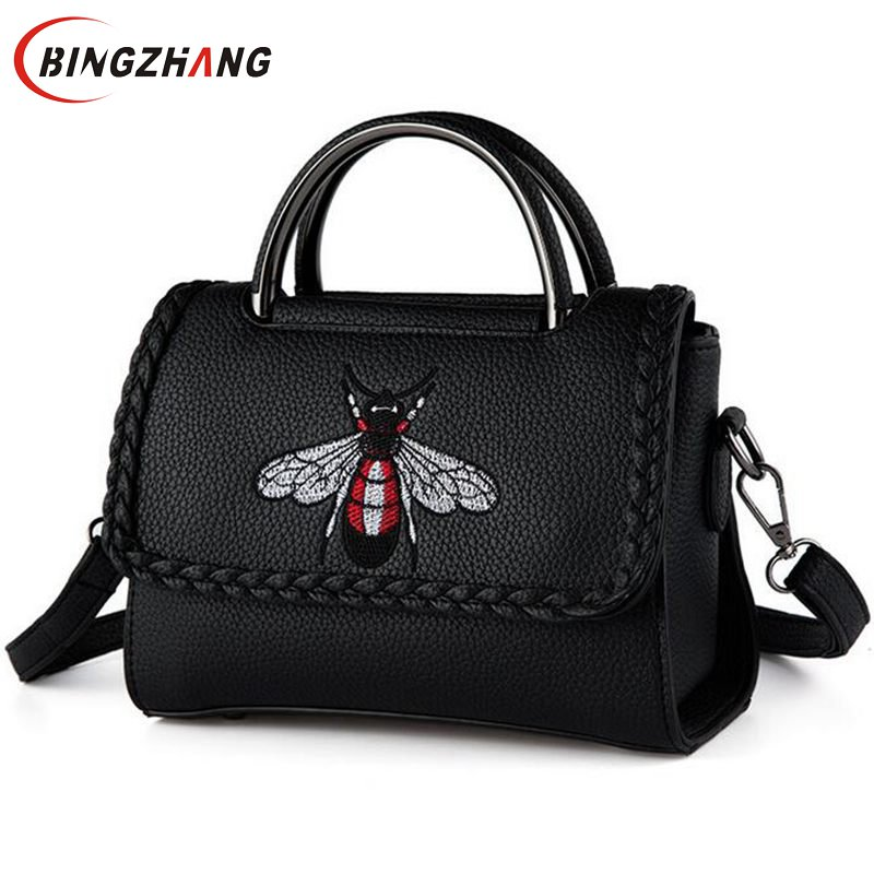 Brand New 2017 Women Handbags Messenger Bags Crossbody PU Casual Tote Embroidered Bee Women Shoulder Bags for Female L4-2752