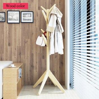 8 Hooks Assembly Solid Wood Coat Racks Creative Floor Bedroom Hangers Living Room Furniture