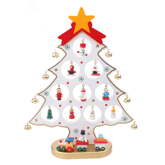 Xmas Gift 1pc Mini Table Trees Decoration Wood Christmas Tree With Ornament For X Mas More Than 100 Tnt Free Shipping In From Home Garden On