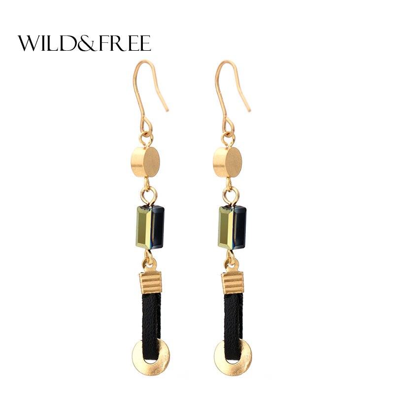 Vintage Women Black Leather Gold Drop Earrings Retro Stone Bead Zinc Alloy Europe Small Long Dangle Earrings Jewelry Gift