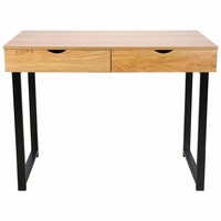 HLC Modern Stylish Computer Desk Home Office Study Table Workstation With 2 Drawers Pear Wood Color