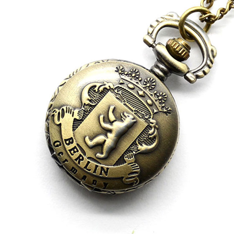 Retro Bronze Berlin Germany Quartz Pocket Watch Analog Pendant Gift For Pocket Watch With Necklace Chain Free Drop Shipping