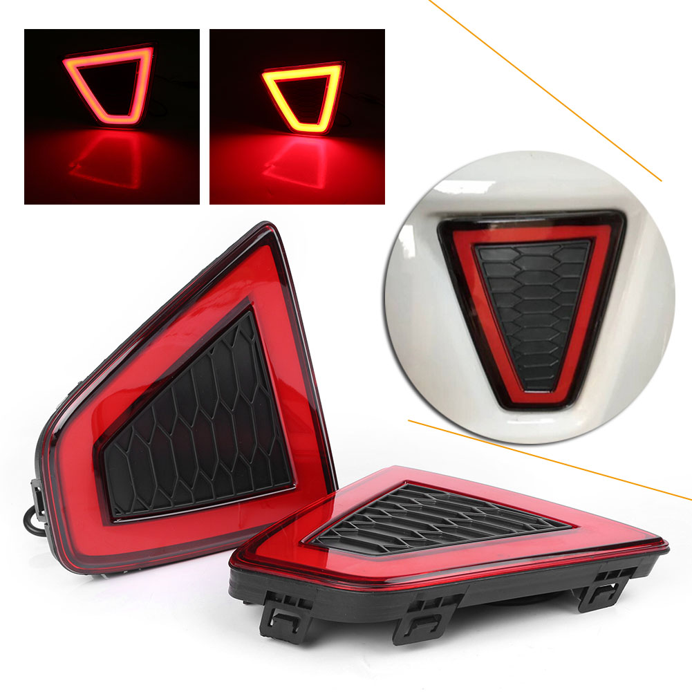 Red LED Rear Bumper Lamps Fog Brake Tail Lights Taillight Lamp For Honda Jazz Fit 2014-2015 Automobile Parts Accessories hireno tail lamp for honda fit jazz 2008 2009 2010 2011 2012 2013 led taillight rear lamp parking brake turn signal lights