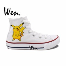 Wen White Cartoon Hand Painted Sneakers Pokemon Pikachu Pocket Monster Painted Women Men' Gifts High Top Canvas Shoes