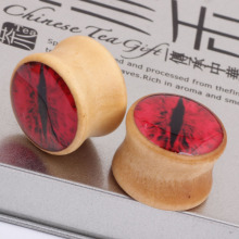 Blood red eyes explosion wood ear expander Earrings ear defender PIERCING PLUG puncture jewelry tunnels ear expander