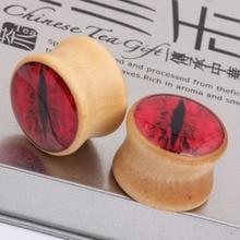 Blood red eyes explosion wood ear expander Earrings ear defender PIERCING PLUG puncture jewelry tunnels ear expander