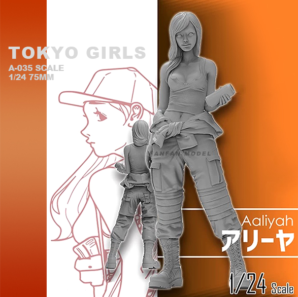 1/24  Resin Kits Tokyo Beauty Girl Soldier Series Resin Soldier Self-assembled A-035