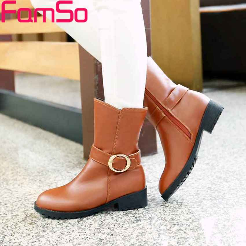 Plus Size34 44 2016 new Sexy font b Women s b font Half boots Buckle Shoes