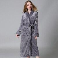 New Winter Bathrobe Women Men Shawl Bathrobes Sleepwear Robe Long Sleeve Flannel Bath Robe Warm Couple Male Bathrobe Coat
