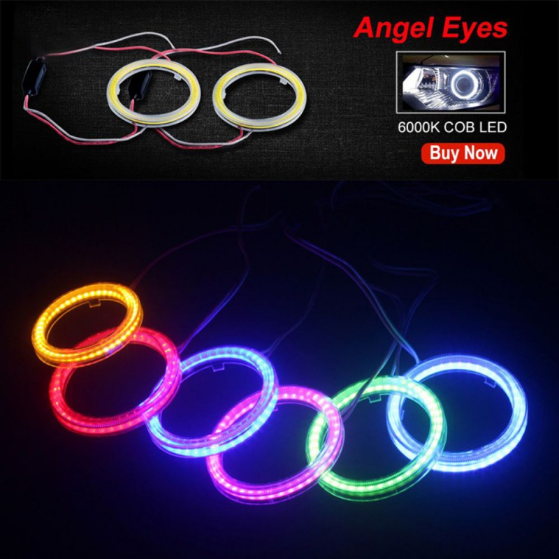 1Pcs Auto Angel Eyes Halo Rings Cob LED Headlight 60/70/80/90/100/110/120MM Car Motorcycle For E36 E39 E60 E92 E63 Drop Shipping
