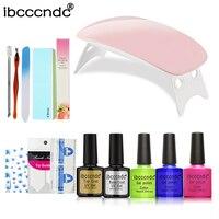 6W Mini LED Lamp 3 Colors Nail Gel Polish UV Base Top Coat Nail Art Design Set Manicure Kit Cuticle Oil Polish Remover Wraps Kit