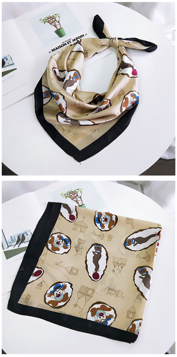 HTB165rNLBLoK1RjSZFuq6xn0XXaN - 70*70cm Fashion Kerchief Cartoon Scarf For Women Animal Print Hair Scarf Female Square Neckerchief Cute Headband Scarves