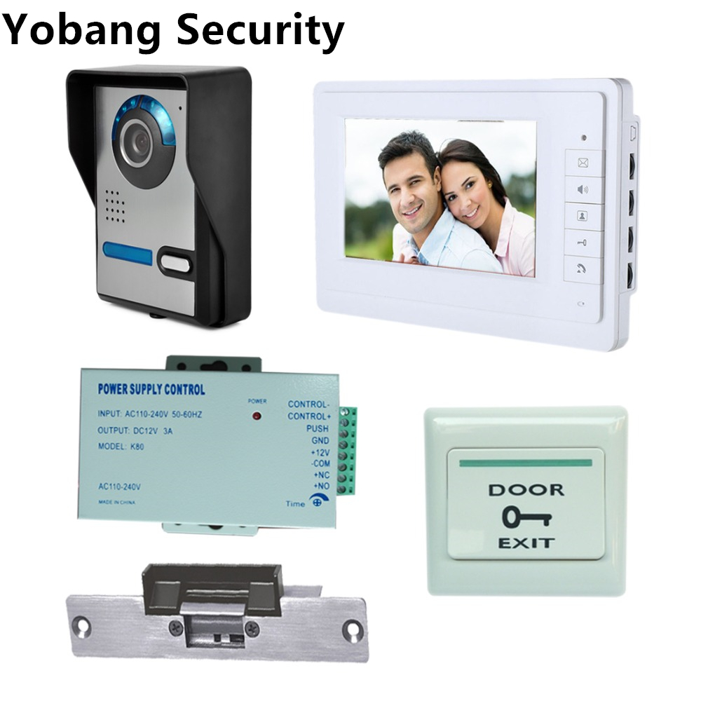 Yobang Security Freeship 7 inch LCD Video Intercom Door Phone door bell camera Intercom Kit  Night Vision+Electric Lock saful 7 inch lcd wired video door phone intercom waterproof night vision button electric lock control function free shipping
