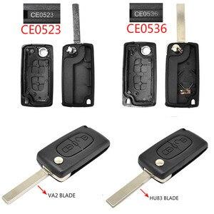 Image 2 - Für Peugeot 308 207 307 3008 5008 807 Für Citroen C2 C3 C4 C5 C6 C8 Auto Schlüssel Remote Flip schlüssel Shell Fall 2 Tasten CE0523 CE0536