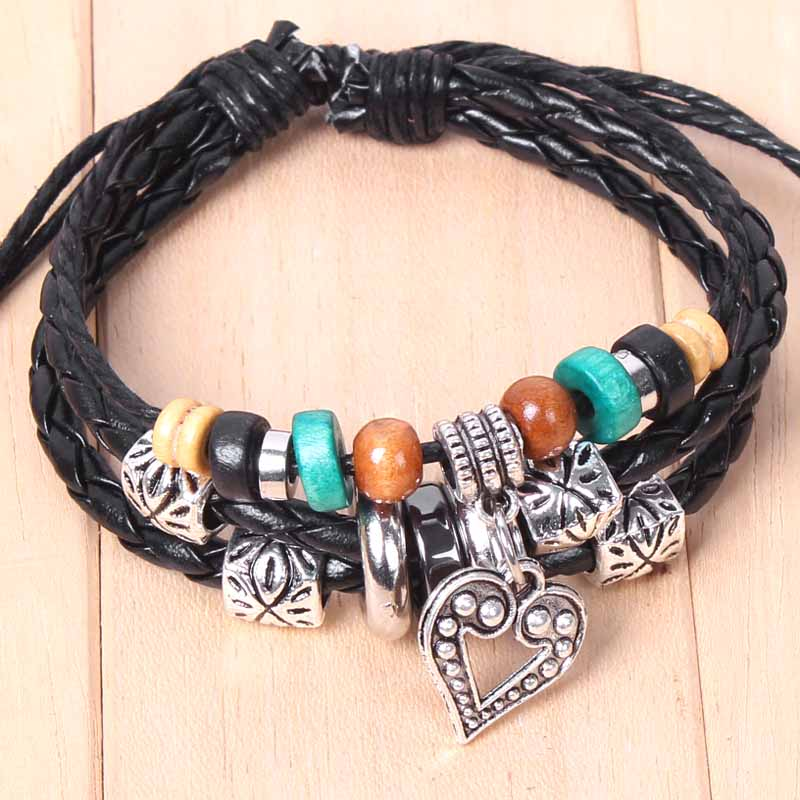 Hand Braided Bracelets & bangles Classical Wood Beads Multilayer Leather Women Jewelry Watch Accessories bracelet men