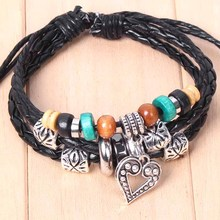 Hand Braided Bracelets & bangles Classical Wood Beads Multilayer Leather Women Jewelry