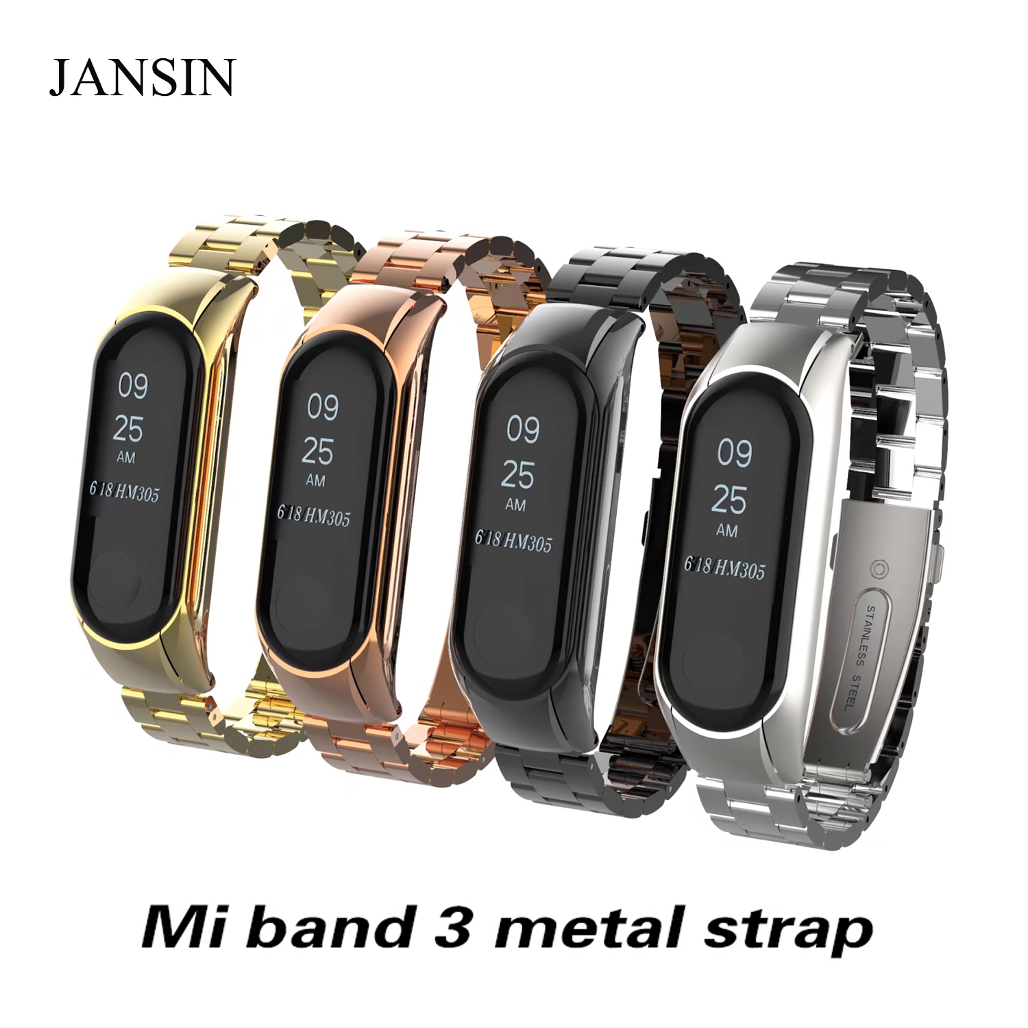 Xiao Mi Mi Band 3 Band Strap Sports Wrist Watch Metal Strap Bracelet For Mi 3 Smart Bracelet For Xiao Mi Band 3 Accessories