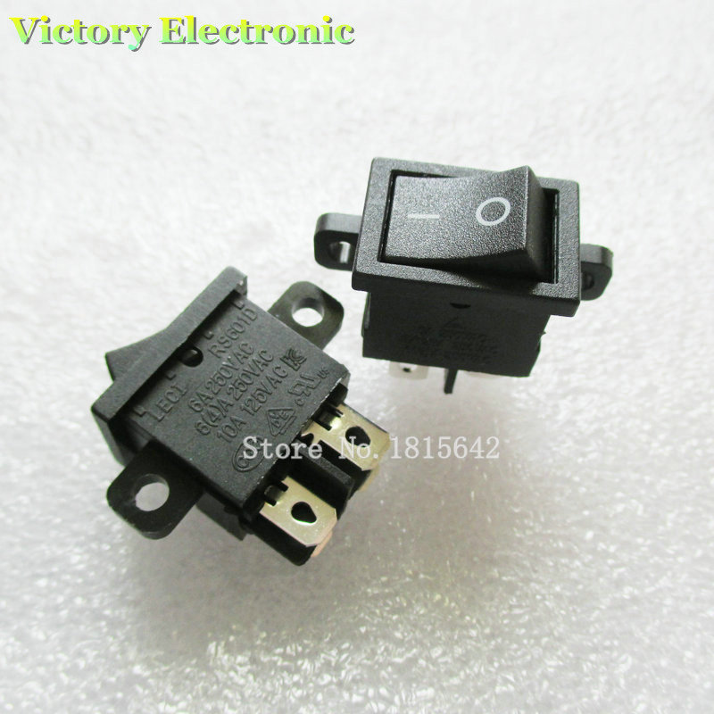 5PCS/Lot New RS601D Power Switch KCD1-104 4 Pins With Fixed Hole 6A 4A 10A 125V 250V AC Wholesale