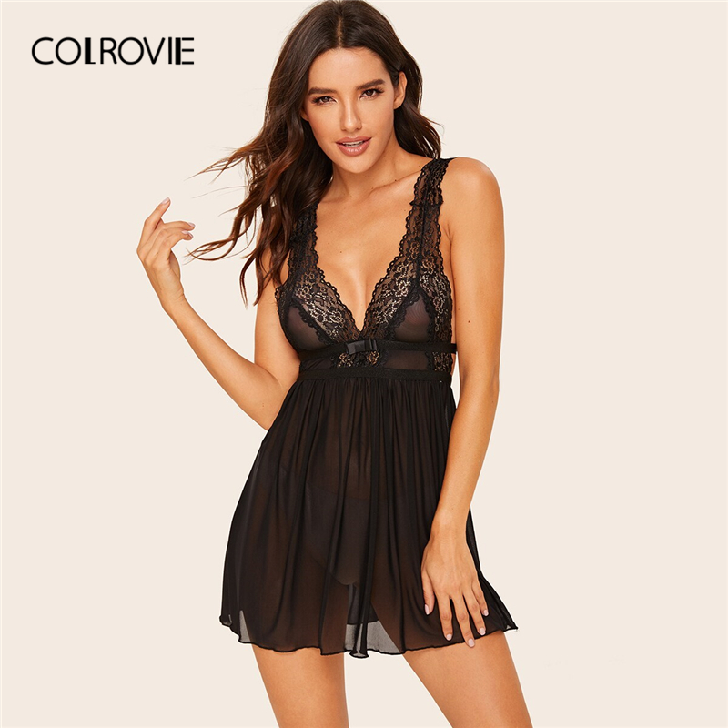 COLROVIE Black Contrast Lace Pleated Sheer Dress Women Deep V Neck Babydolls 2019 Summer Sleeveless Solid Sexy Sleepwear