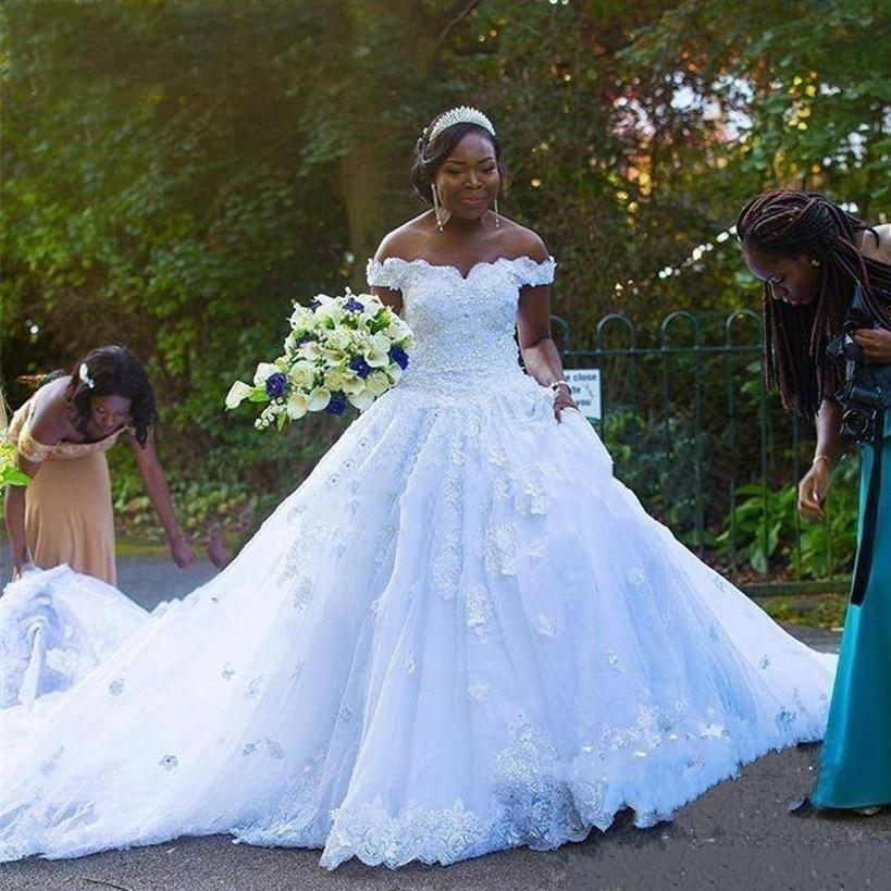 Charming Ballgown Off The Shoulder African Wedding Dress