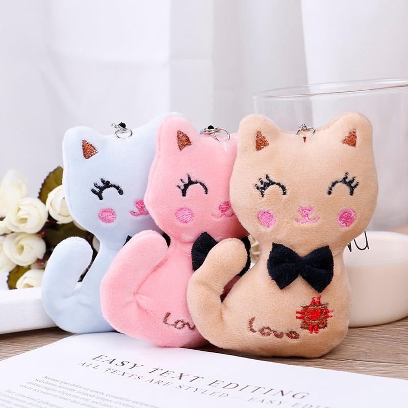 NEW 10cm/12cm Pink Blue Cat Plush Animal Stuffed Kitty Cat Key chain TOY, Kid's Party Plush toy Bouquet Plush Dolls