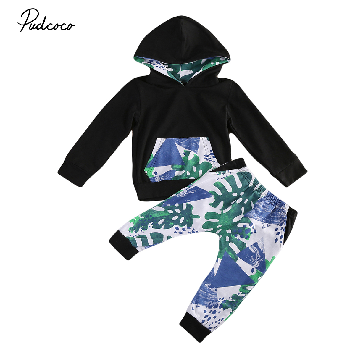 Newbron Toddler Baby Boys Hoodie Sweater Tops Long Pants Home Outfits Set Clothes 2Pcs Set