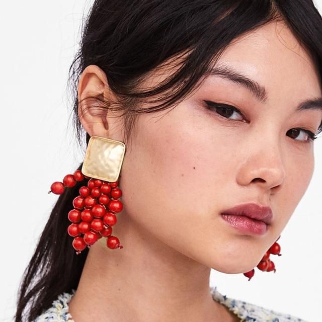 Girlgo 2018 ZA Handmade Red Beads Tassel Earrings For Women Ethnic Statement Fri