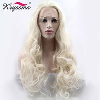 Long White Wig Synthetic Lace Front Wig Halloween Wavy Wigs for Women Free Part Party Wig Glueless Heat Resistant Fiber