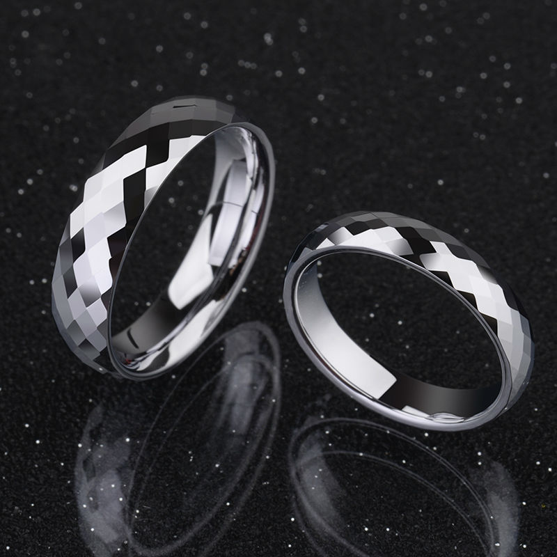2017 New Arrival Saya Brand 1 PCS Tungsten Rings Couples' Wedding Band 3.5mm/5mm Width Faceted Design for Man Woman Full Size