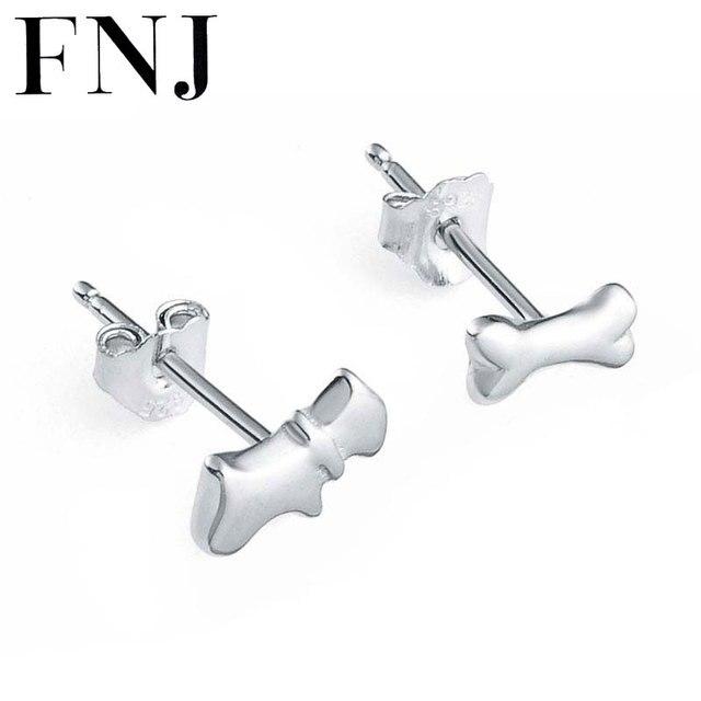 Fnj 100 925 Silver Dog Earring Bone Women Jewelry S925 Sterling Boucle D
