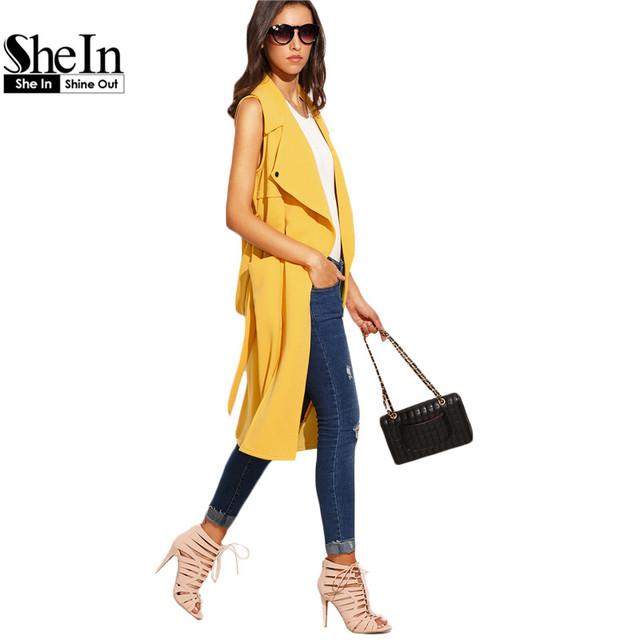 SheIn Mujeres Casual Otoño Larga Trinchera Abrigos Señoras Aclaran Amarillo Sin Mangas Solapa Empate prendas de Vestir Exteriores de La Cintura Hasta La Rodilla