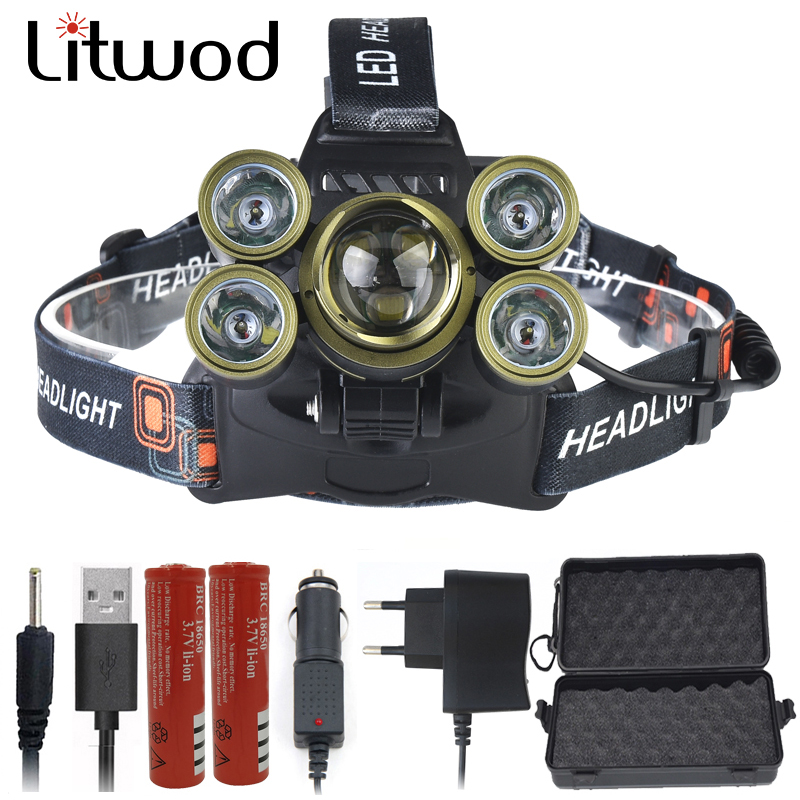 Litwod Z20 XM-L T6 LED Zoom Lens Headlamp Head Lamp Lighting Light Flashlight Torch Lantern Rechargeable Headlight For Fishing